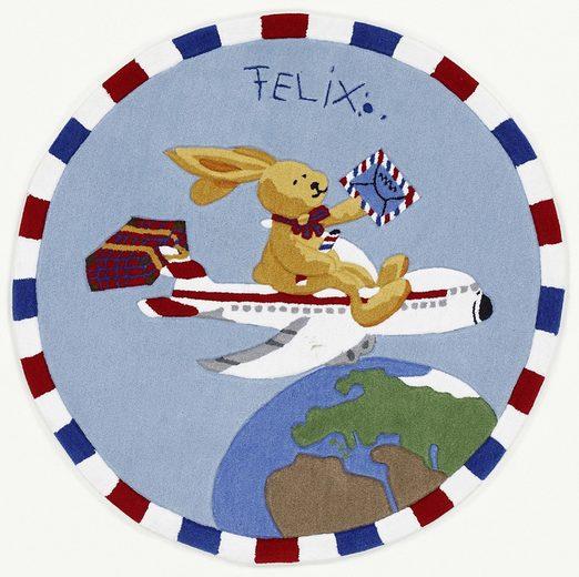 Kinderteppich »Felix der Hase FE-2934-01«, Felix der Hase, rund, Höhe 10 mm, Konturenschnitt, brillante Farben