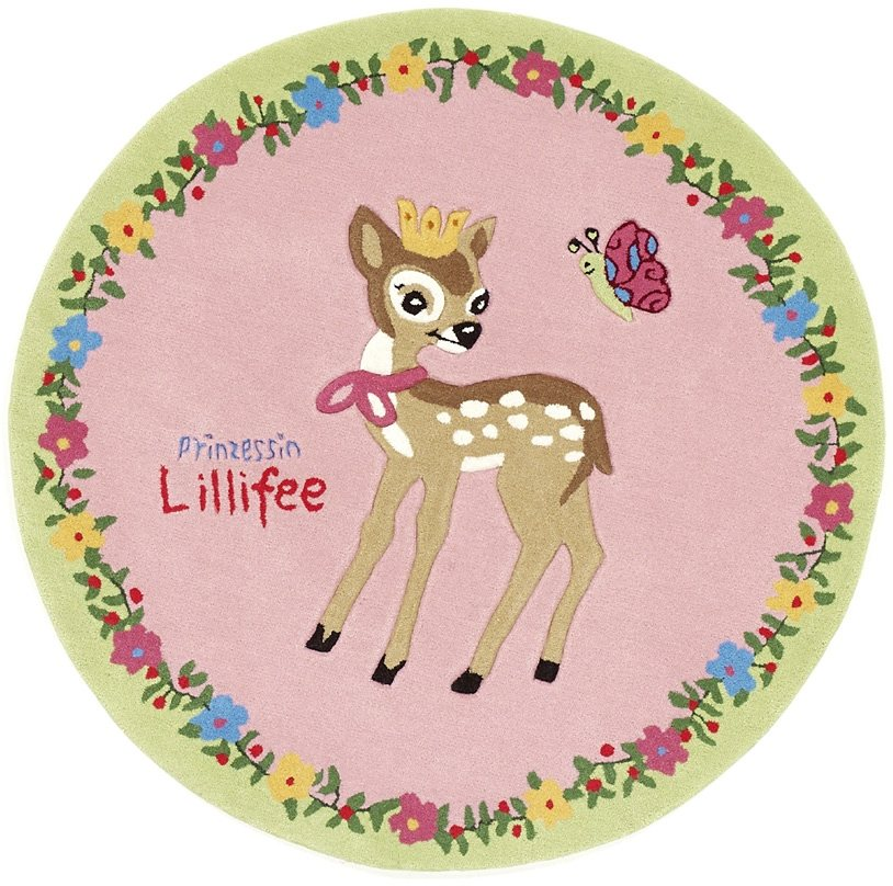 Teppich, Prinzessin Lillifee, »LI-2935-01«, handgetuftet, Konturenschnitt, Brilliante Farben, Rund in rosa