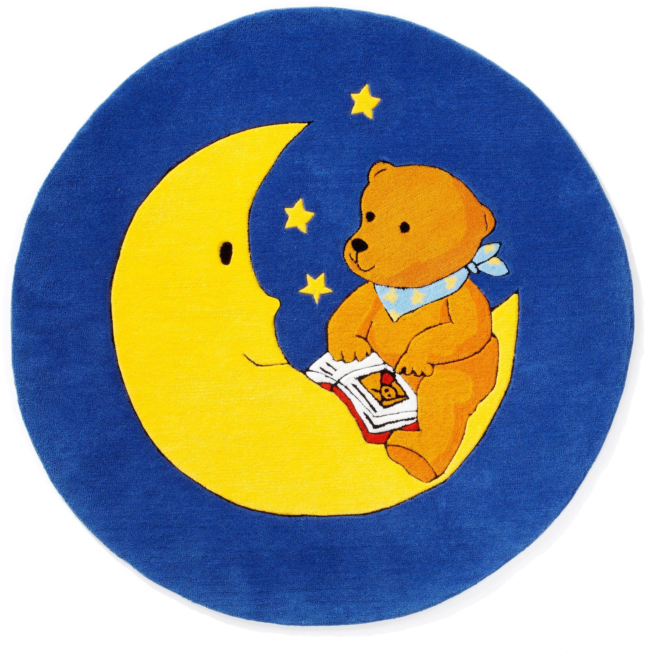Teppich, Mondbär, »MO-1337«, handgetuftet, Konturenschnitt, Brilliante Farben, Rund