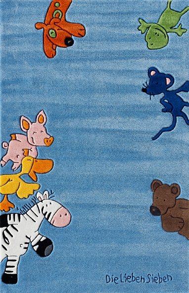 Teppich, Die Lieben Sieben, »LS-2195-01«, handgetuftet, Konturenschnitt, Brilliante Farben in blau