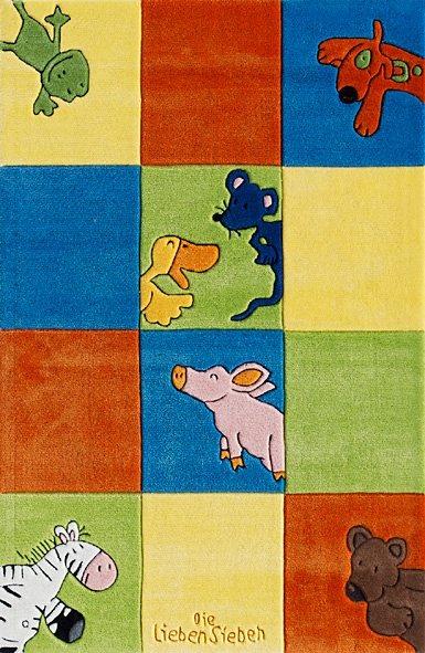 Kinder-Teppich, Die Lieben Sieben, »LS-2197-01«, handgetuftet, Konturenschnitt in blau