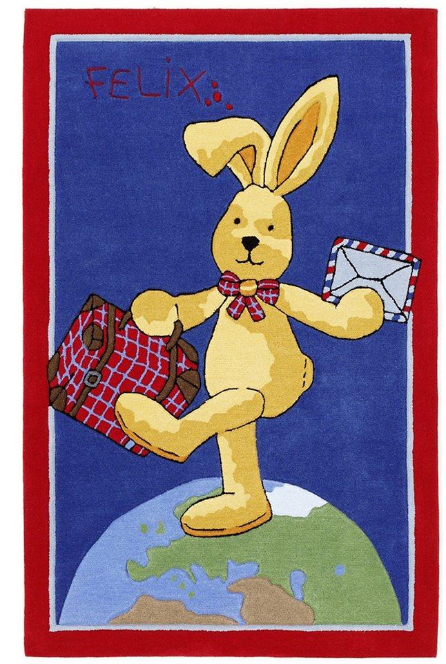 Kinder-Teppich, »Felix der Hase FE-2943-01-01«, handgetuftet, Konturenschnitt in rot