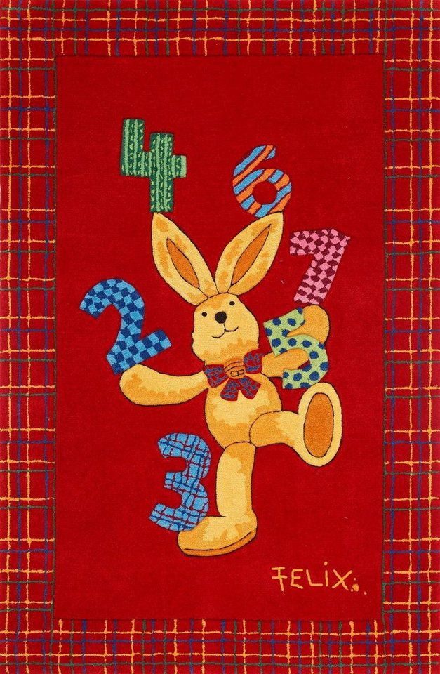 Teppich »Felix der Hase FE-2194-01«, handgetuftet, Konturenschnitt, Brilliante Farben in rot