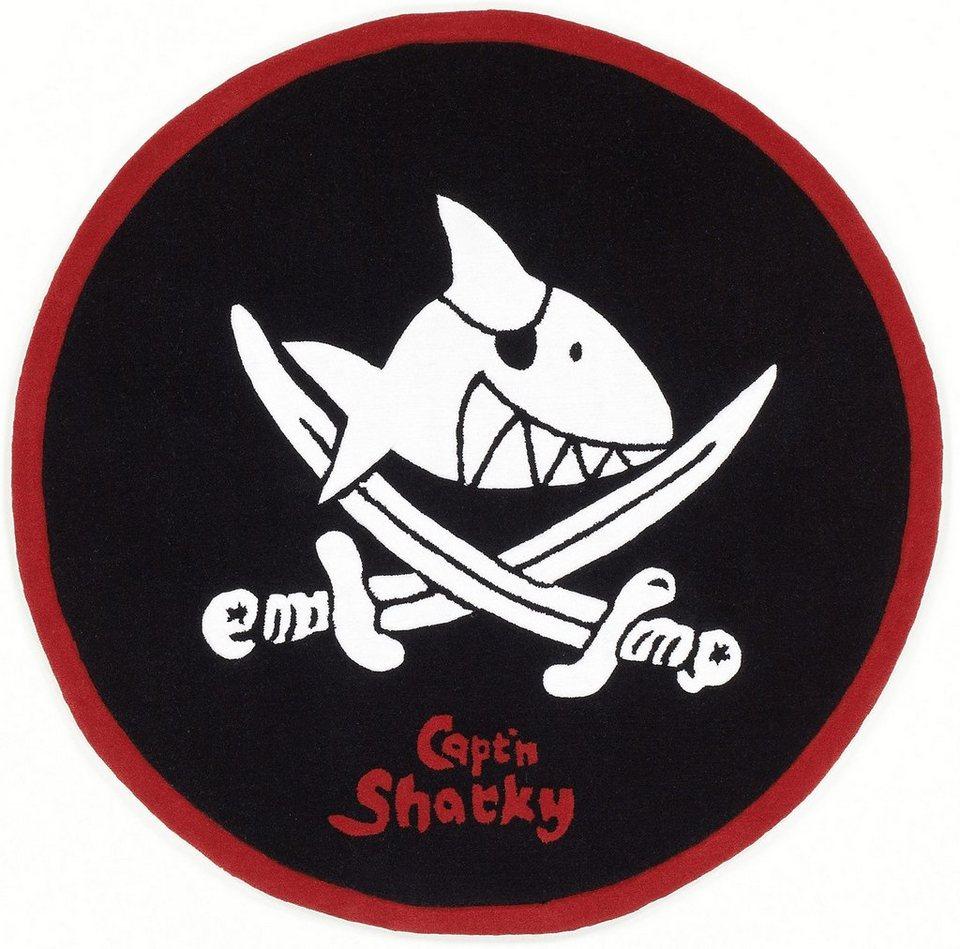 Kinder-Teppich, Rund, Capt'n Sharky, »SH-2360-01«, handgetuftet, Konturenschnitt in schwarz