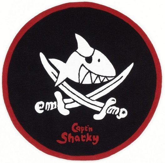 Kinderteppich »SH-2360-01«, Capt`n Sharky, rund, Höhe 10 mm, Konturenschnitt