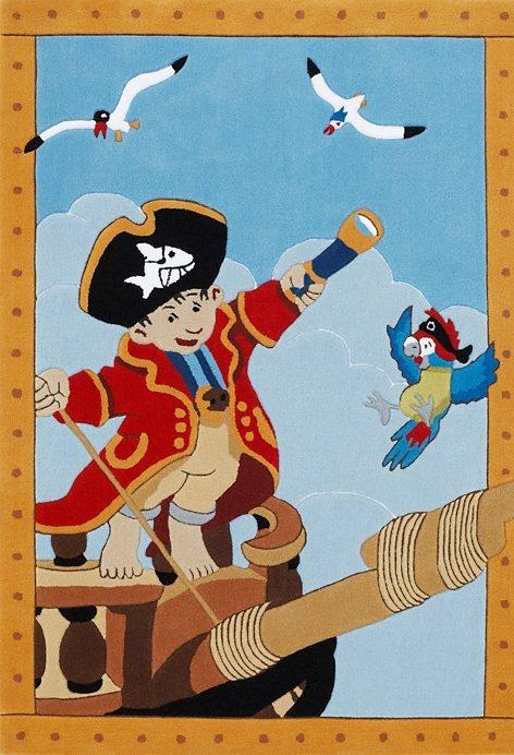 Teppich, Capt'n Sharky, »H-2366-01«, handgetuftet, Konturenschnitt, Brilliante Farben in blau