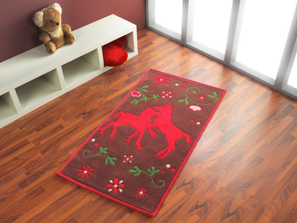 Teppich, Pferdefreunde, »PF-102-01«, handgetuftet, Konturenschnitt, Brilliante Farben in braun