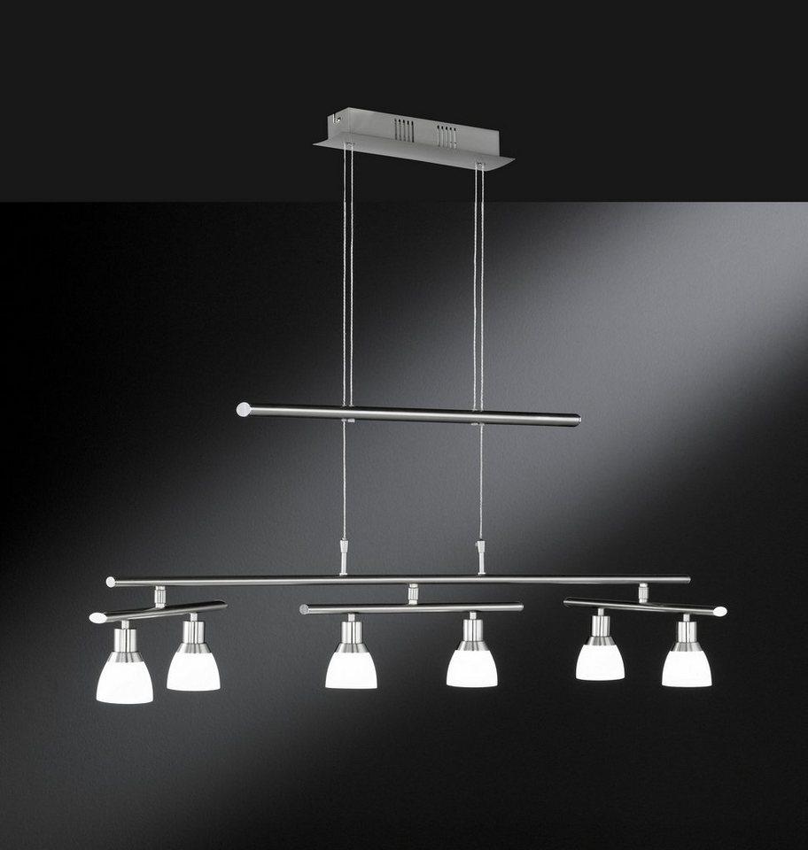 Pendelleuchte, inkl. LED, 6 flammig in Leuchte Nickel matt, Glas opal weiß