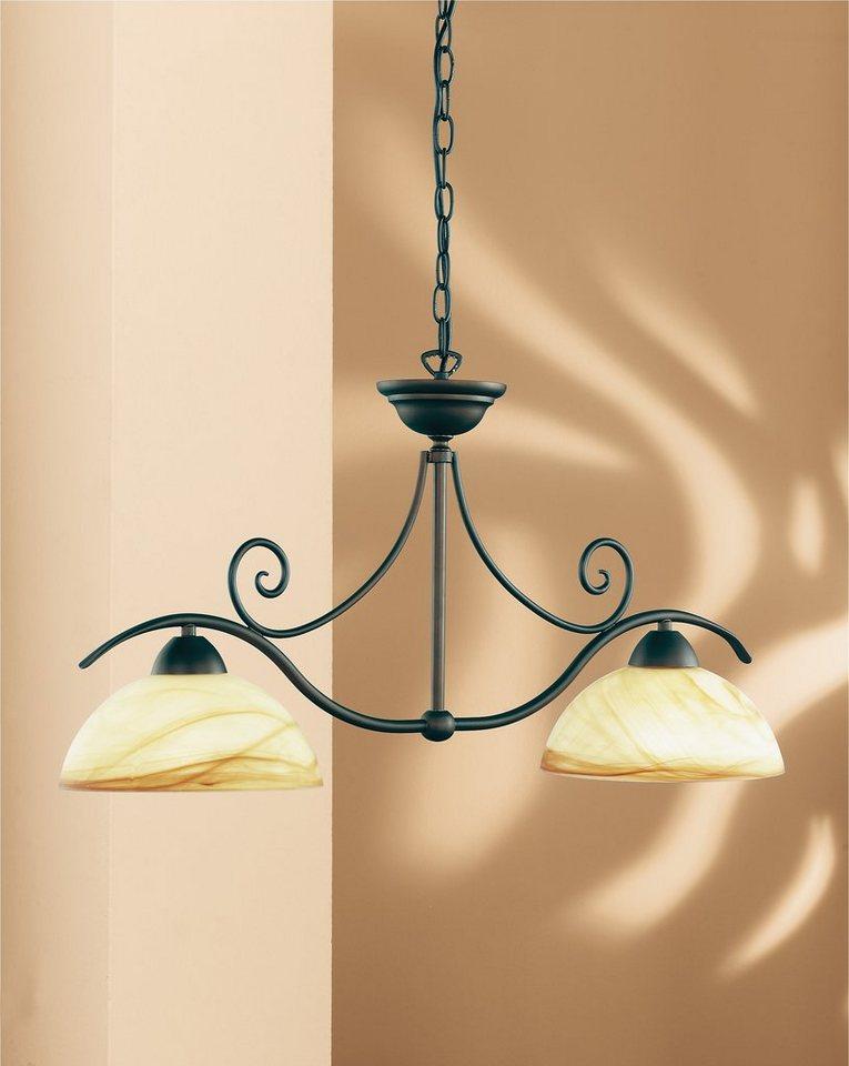 Pendelleuchte, 2 flammig in Leuchte antik braun, Glas warme, goldene Tönung