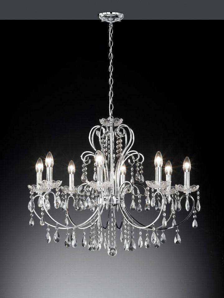 Pendelleuchte, 8 flammig in Leuchte Chrom und Glaskristall