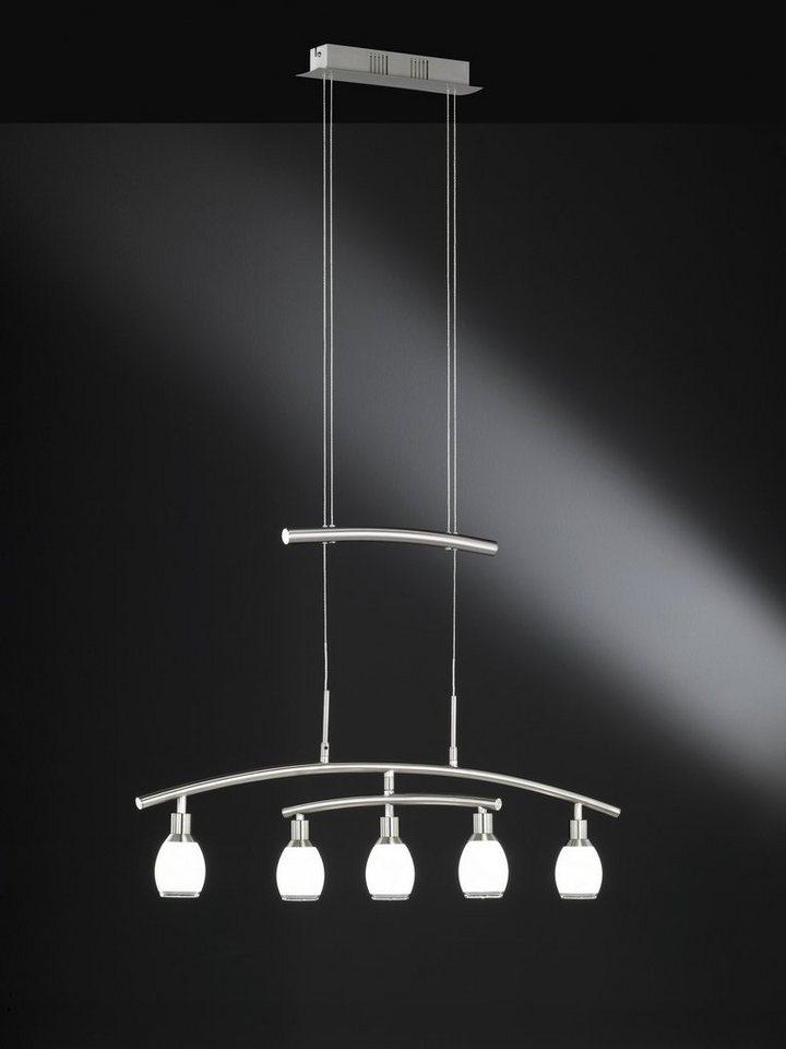 Pendelleuchte, inkl. LED, 5 flammig in Leuchte Nickel matt, Glas weiß lackiert mit Klarrand