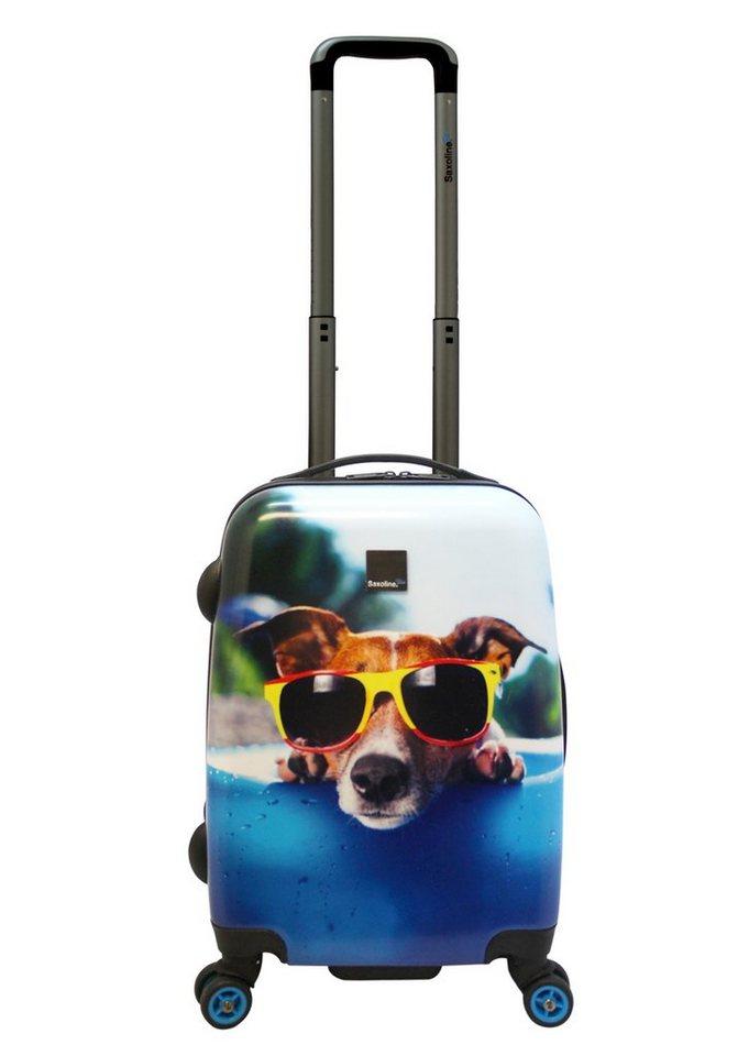 Saxoline blue, Trolley mit Hundemotiv und 4 Rollen, »Happy Dog«