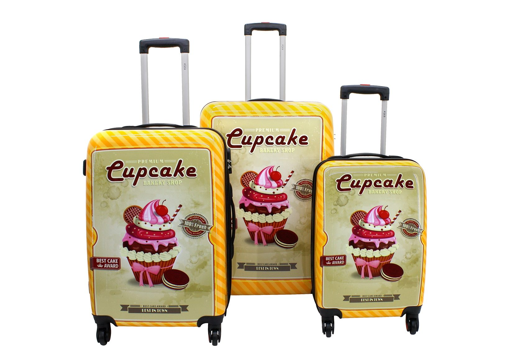 F23™, Trolley-Set mit 4 Twisterrollen, »Cupcake« (3tlg.)