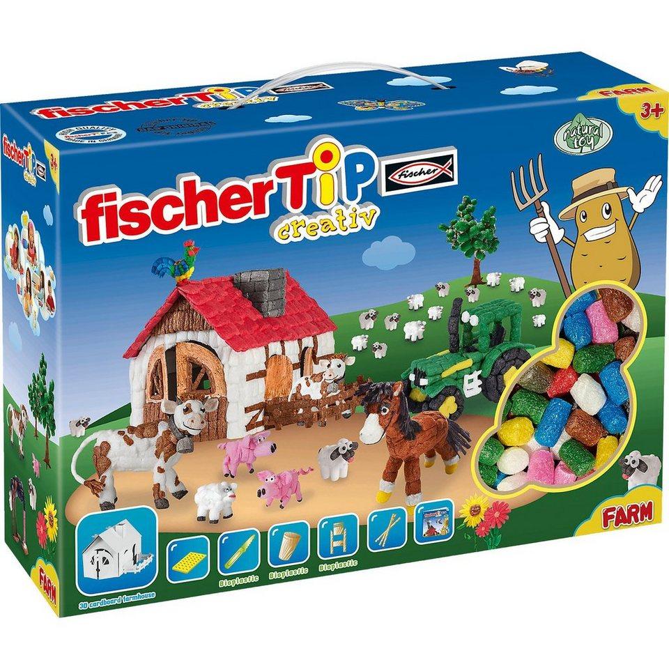 fischerTiP Kreativset Farm, 1.000 Teile, inkl. Bausteinformer & Zubehör