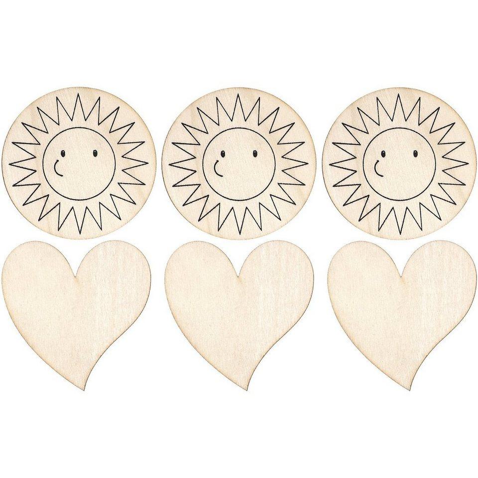 SUNNYSUE Memomagnete Herz & Sonne zum Selbstgestalten, 6 Stück
