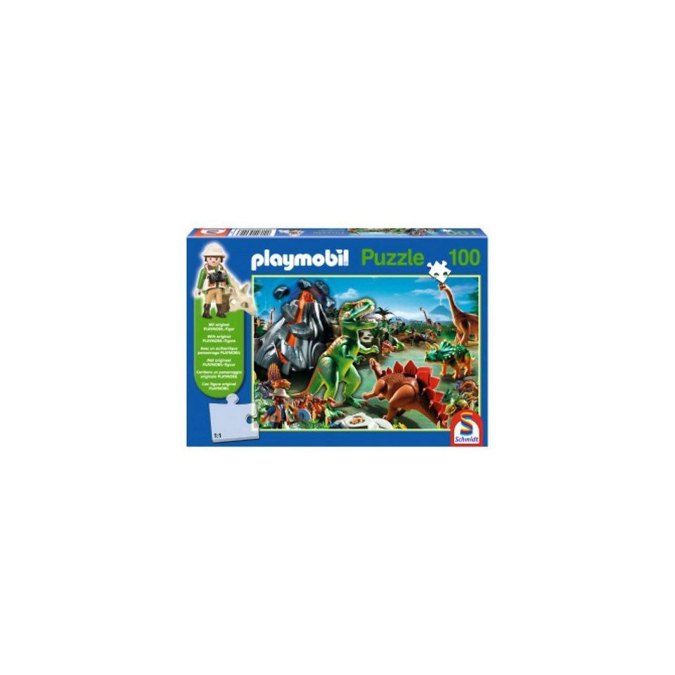 Schmidt Spiele Im Dinoland, 100 Teile, Kinderpuzzle Playmobil mit Figur