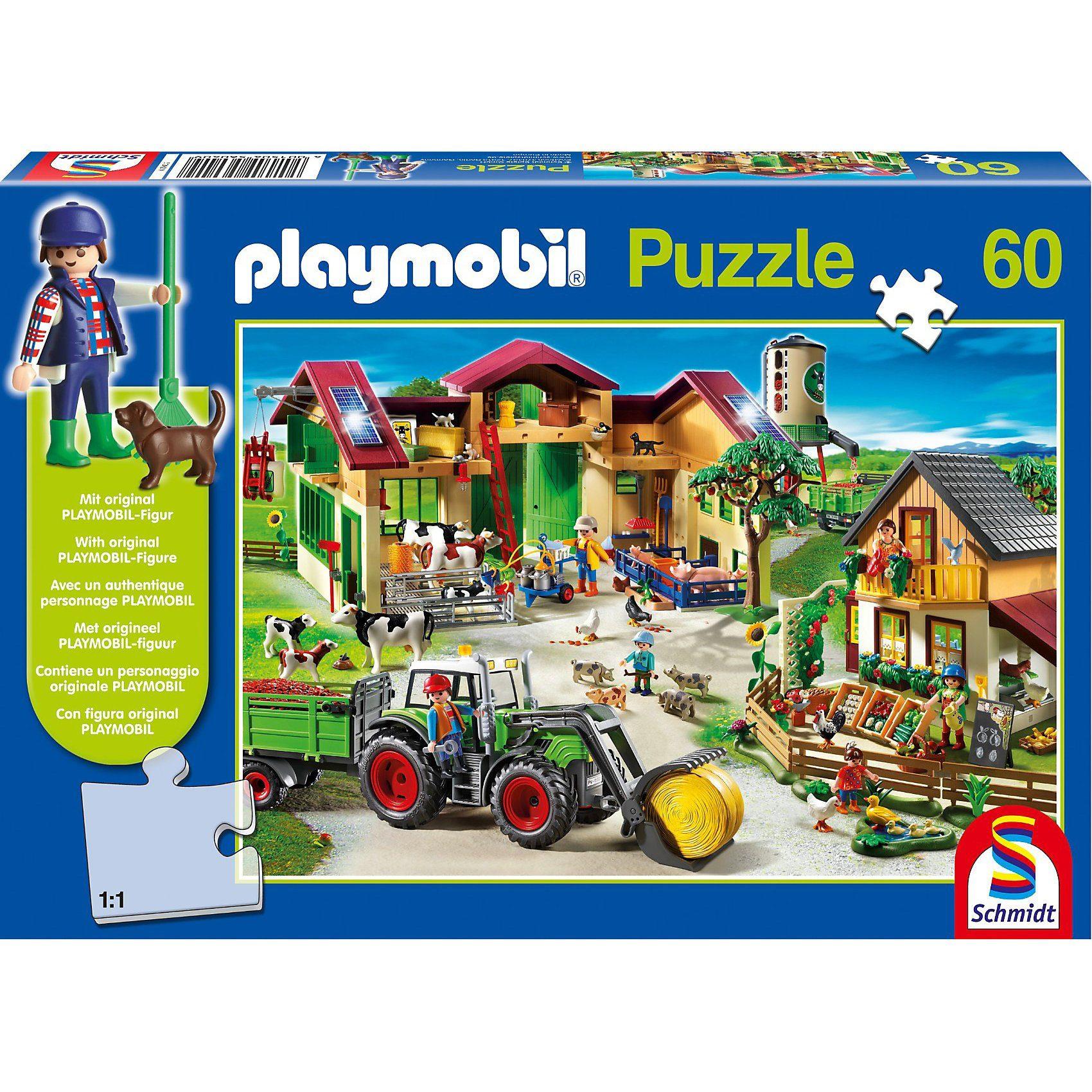 Schmidt Spiele Auf dem Bauernhof, 60 Teile, Kinderpuzzle Playmobil mit Figu