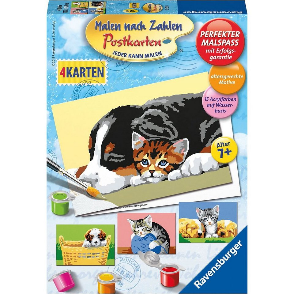 ravensburger malen nach zahlen postkarten tiere bunt 4 motive online kaufen otto. Black Bedroom Furniture Sets. Home Design Ideas