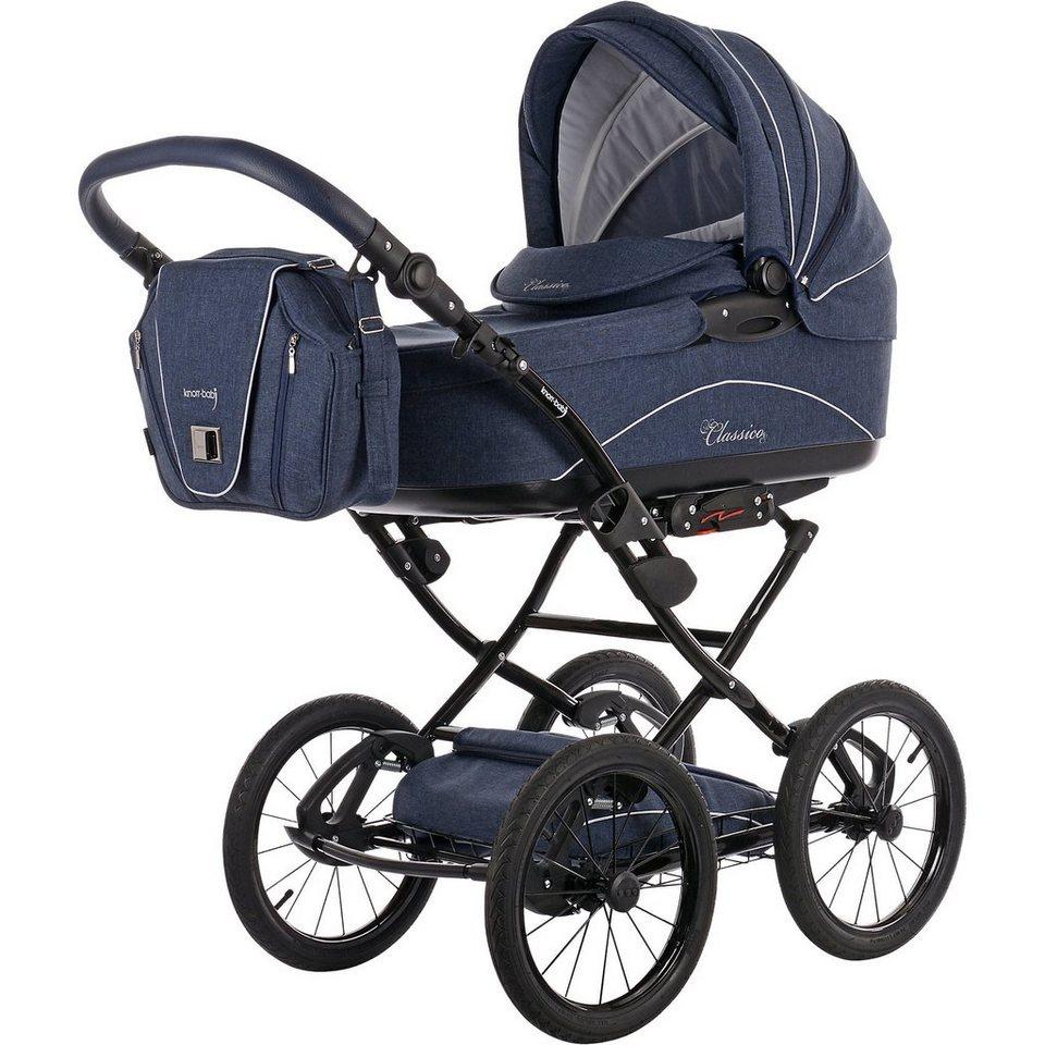 knorr-baby Kombi Kinderwagen Classico mit Wickeltasche & Handwärmer, ma in blau