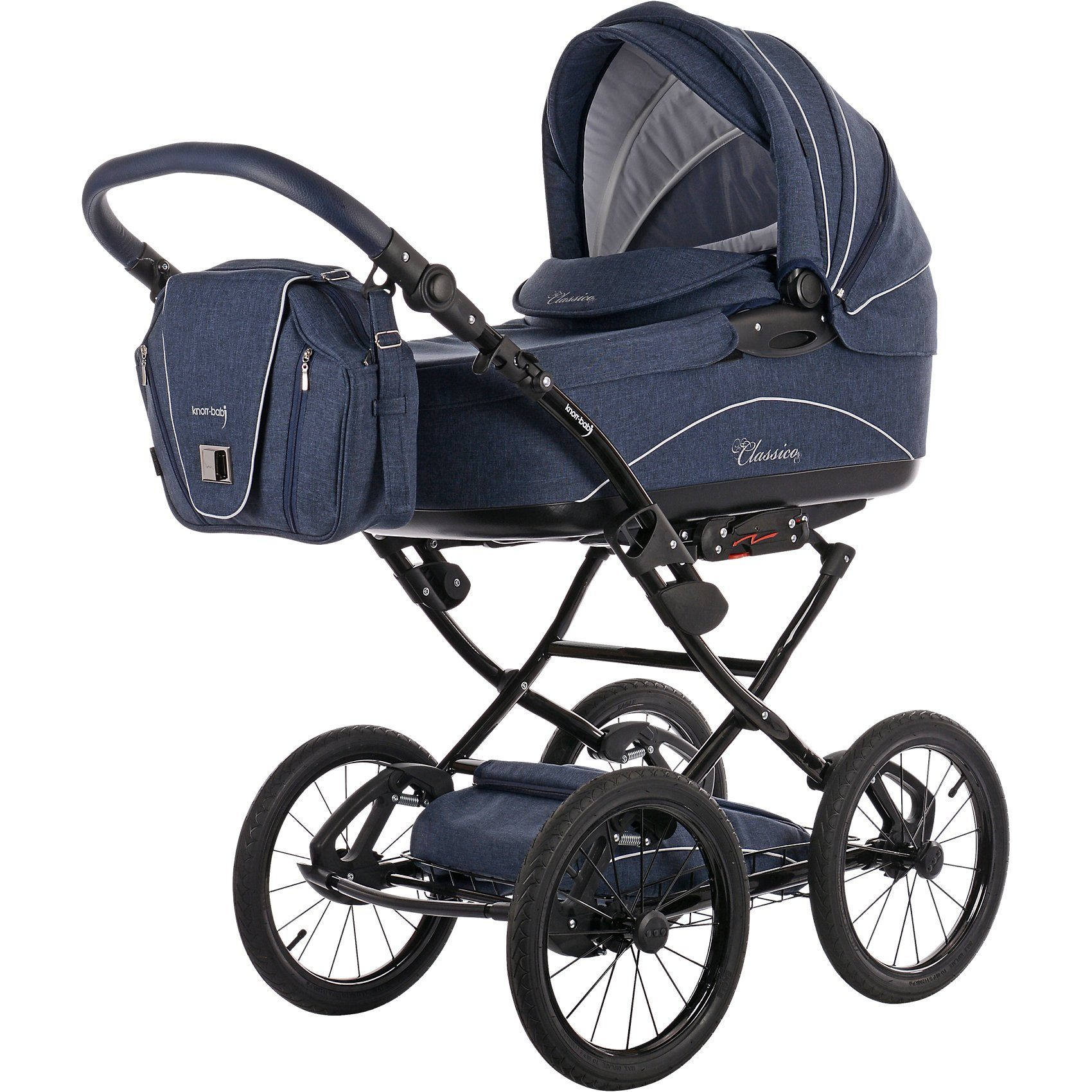 knorr-baby Kombi Kinderwagen Classico mit Wickeltasche & Handwärmer, ma