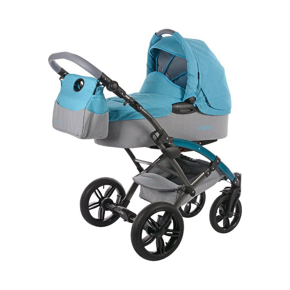 knorr-baby Kombi Kinderwagen Voletto Happy Colour mit Wickeltasche, bla in blau/grau