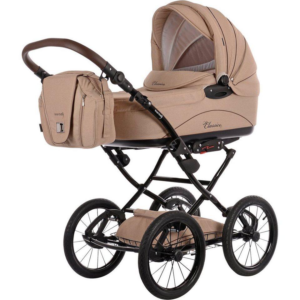 knorr-baby Kombi Kinderwagen Classico mit Wickeltasche & Handwärmer, cr in beige