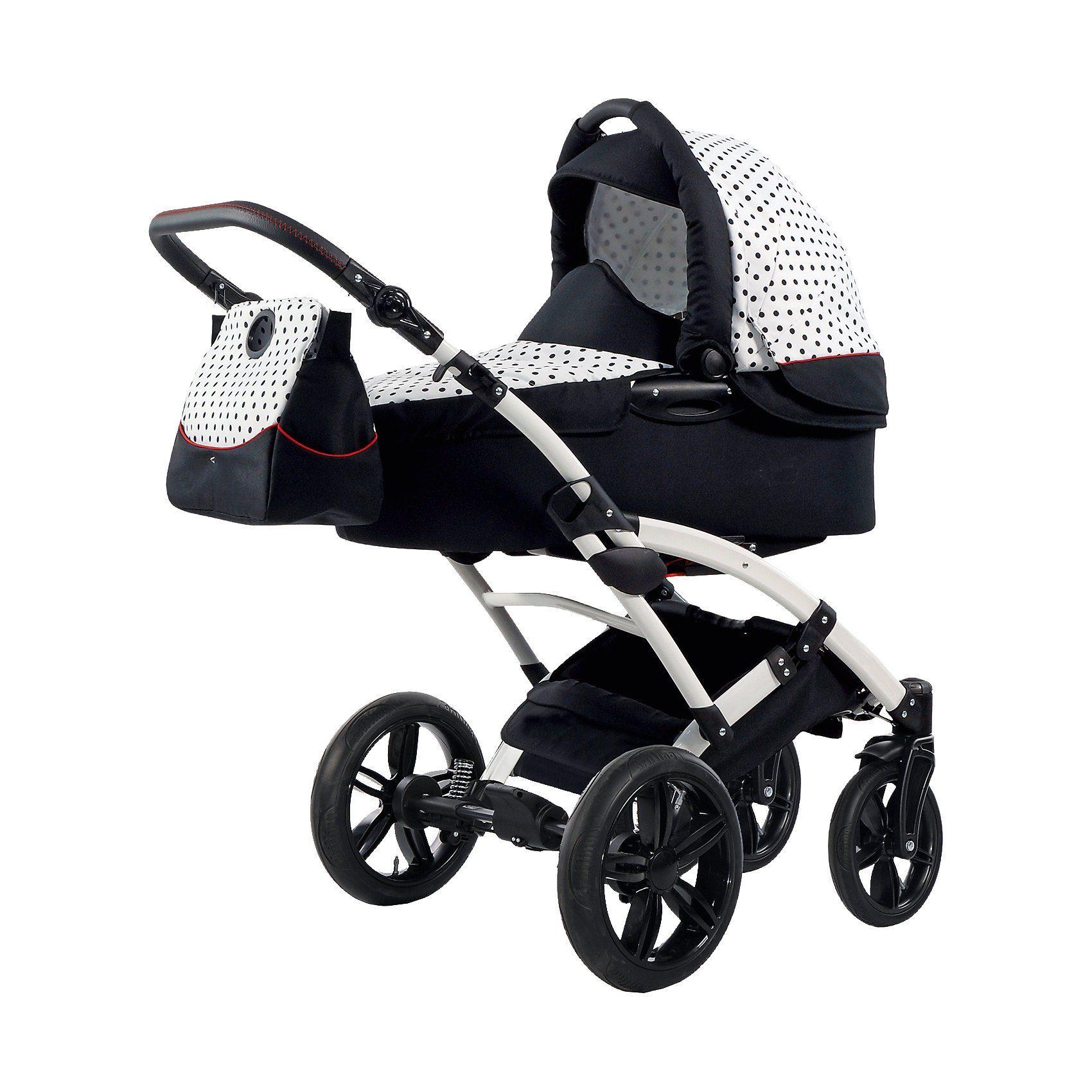 knorr-baby Kombi Kinderwagen Voletto Tupfen mit Wickeltasche, weiß-schw
