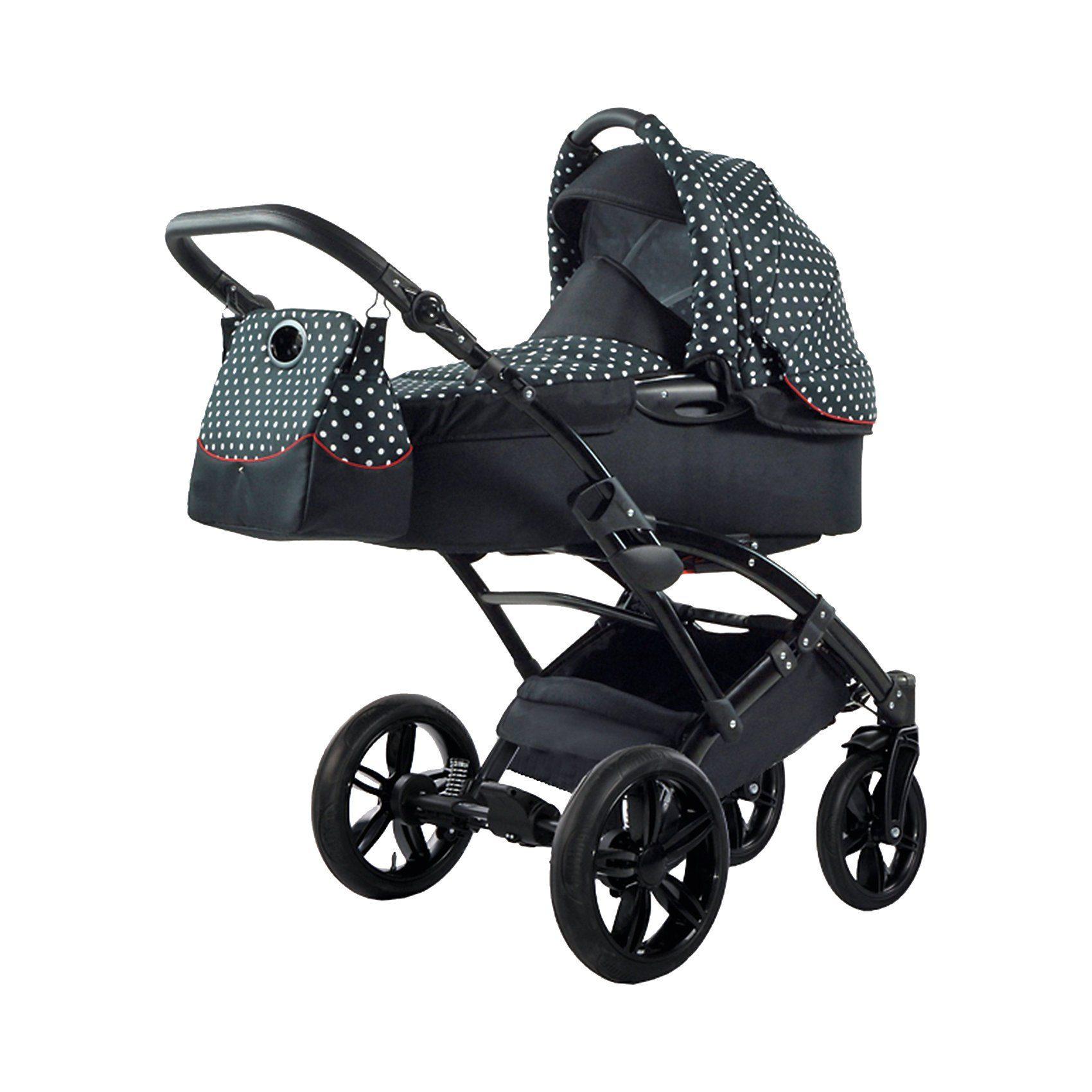knorr-baby Kombi Kinderwagen Voletto Tupfen mit Wickeltasche, schwarz-w