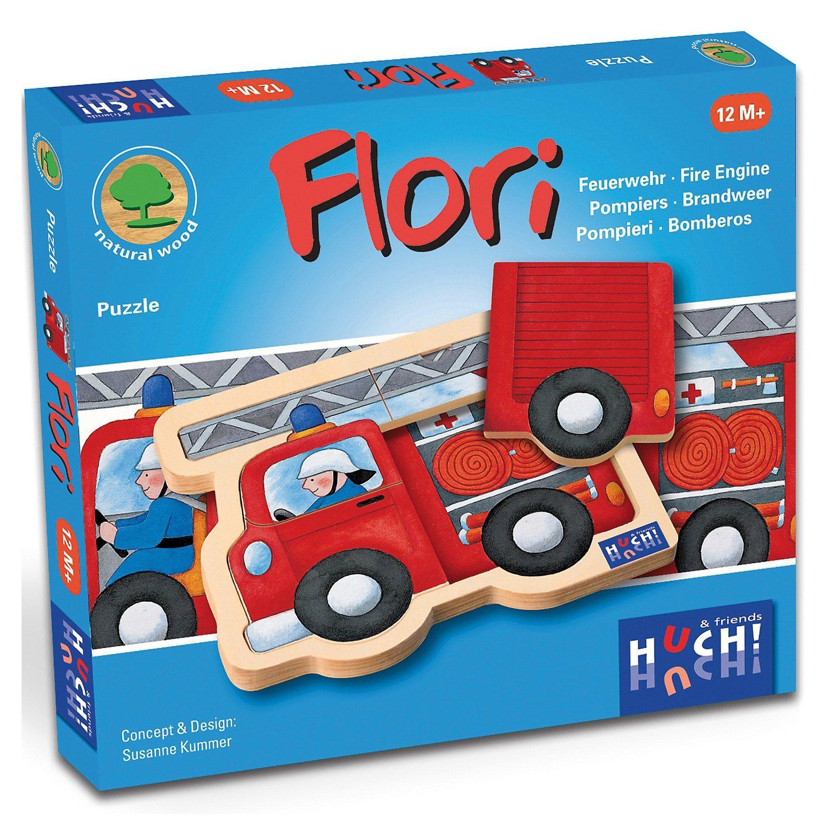 HUCH! Holzpuzzle Feuerwehrauto Flori 4 Teile