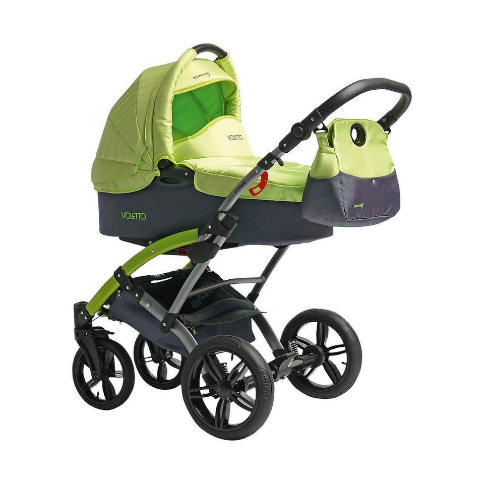 knorr-baby Kombi Kinderwagen Voletto Sport mit Wickeltasche, grau-lemon in grau-grün