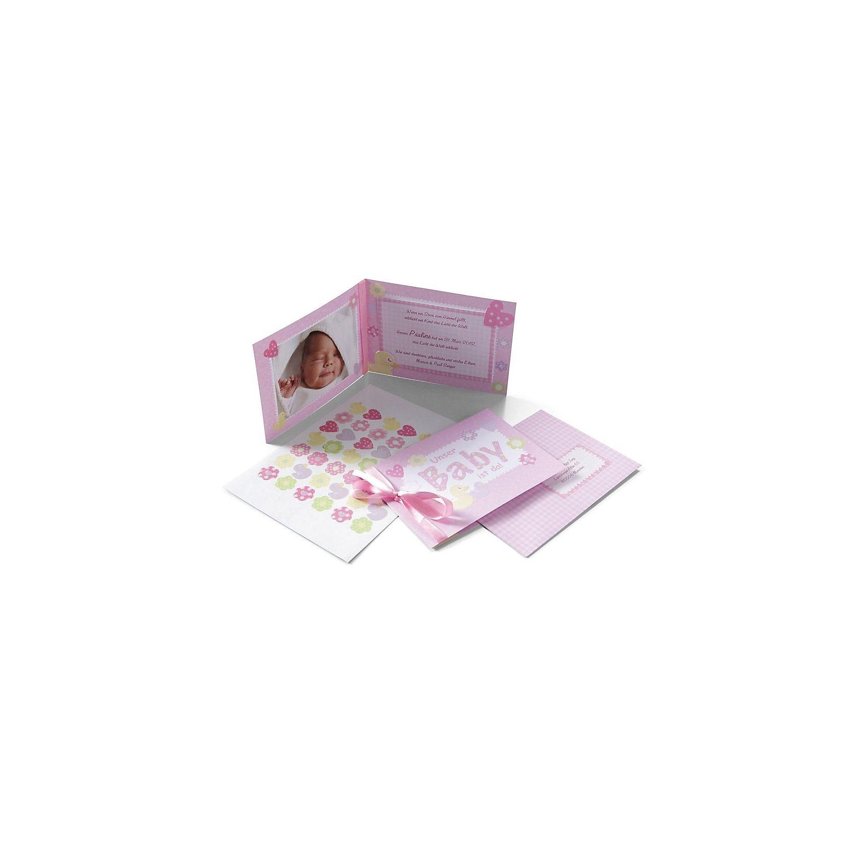 MyPaperSet Gruß- und Dankeskarten zur Geburt: Pinkstar, 155-tlg.