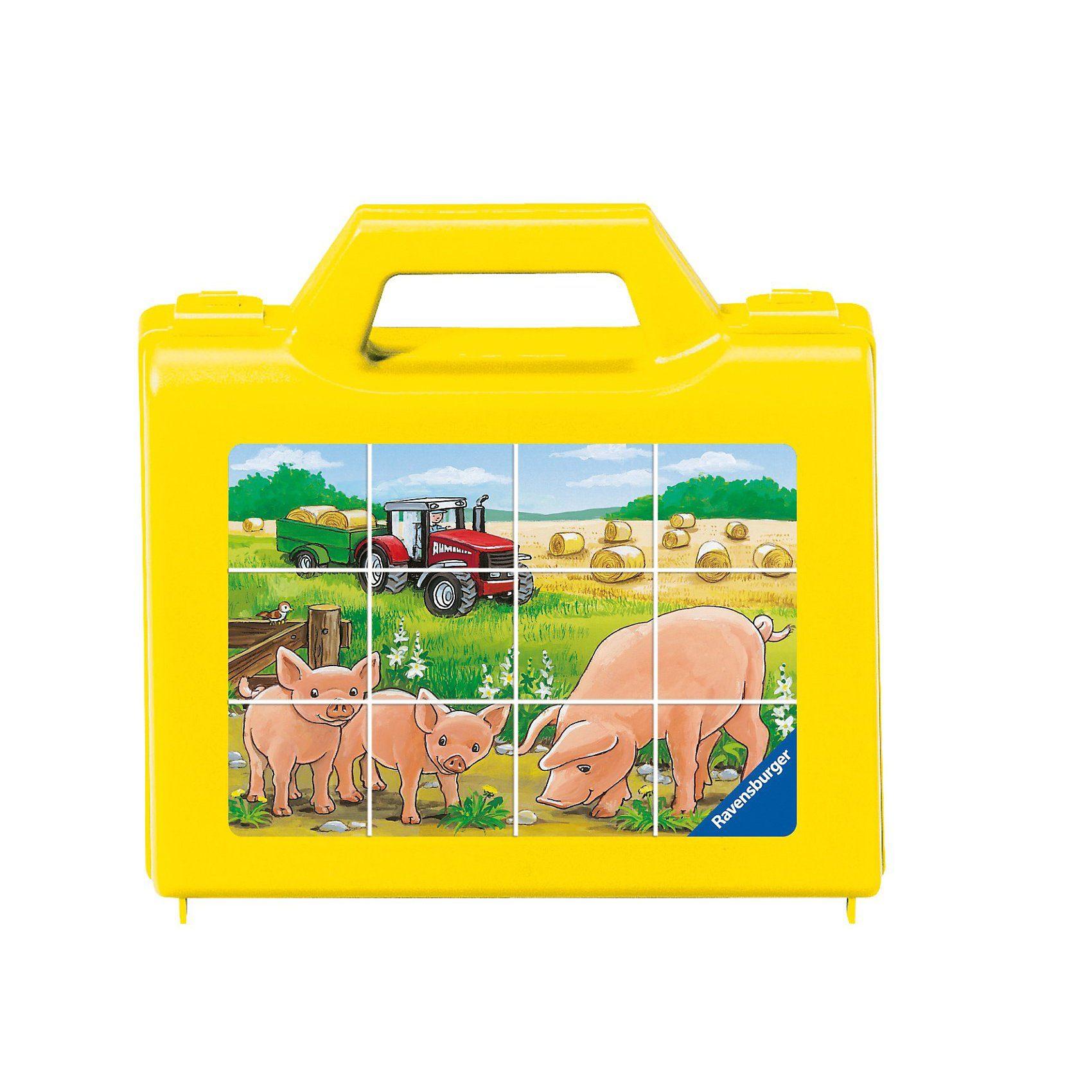 Ravensburger Würfelpuzzle im Koffer Tiere auf dem Bauernhof