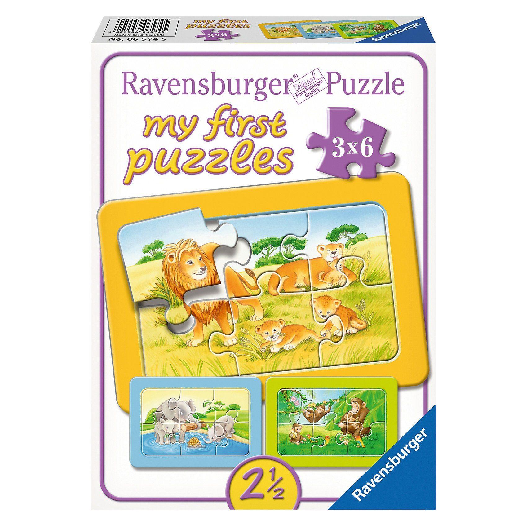 Ravensburger My first Puzzles - Rahmenpuzzle Affe, Elefant und Löwe