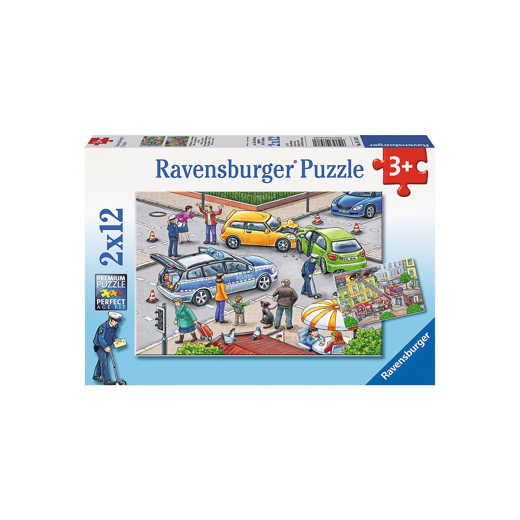 Ravensburger 2x12 Teile Mit Blaulicht unterwegs