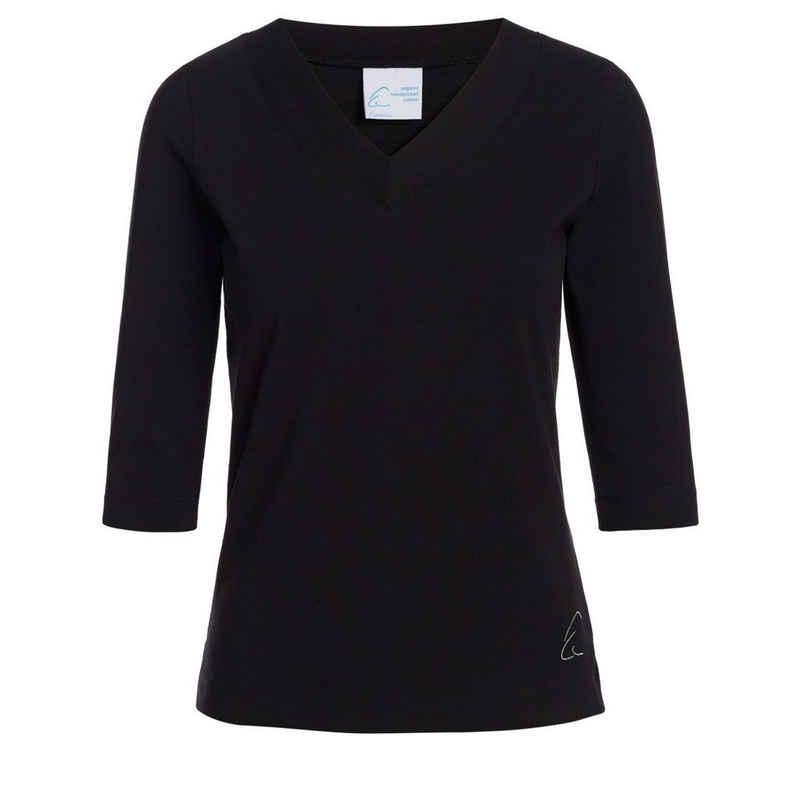 ESPARTO 3/4-Arm-Shirt »Damen-Shirt Sundar in Bio-Baumwolle« lang geschnitten und leicht geschlitzt, 2/3 Ärmel, V-Ausschnitt