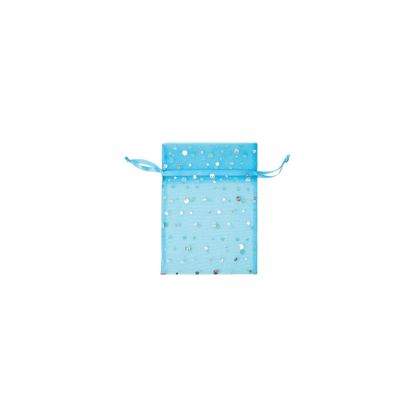 Hotex Chiffonbeutel 13 x 18 cm Glitzerpunkte blau, 12 Stück