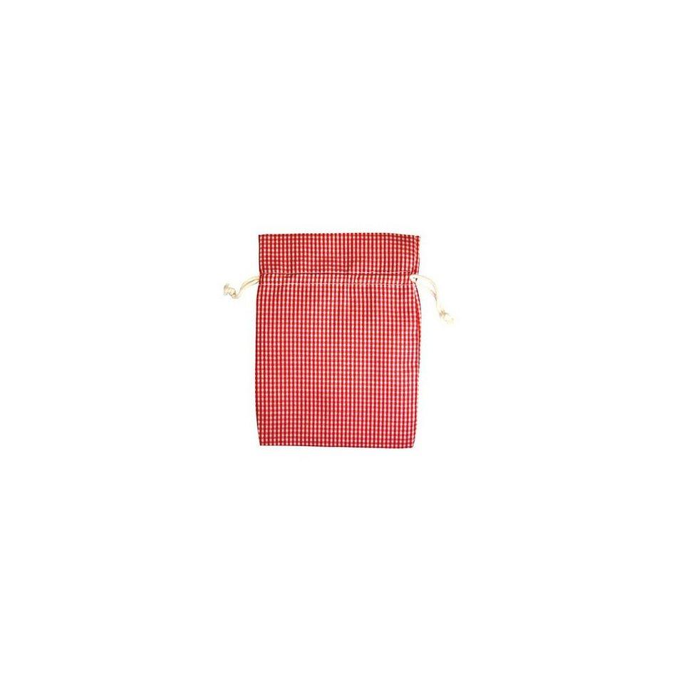 Hotex Baumwollbeutel 13 x 18 cm rot/weiß-kariert, 12 Stück