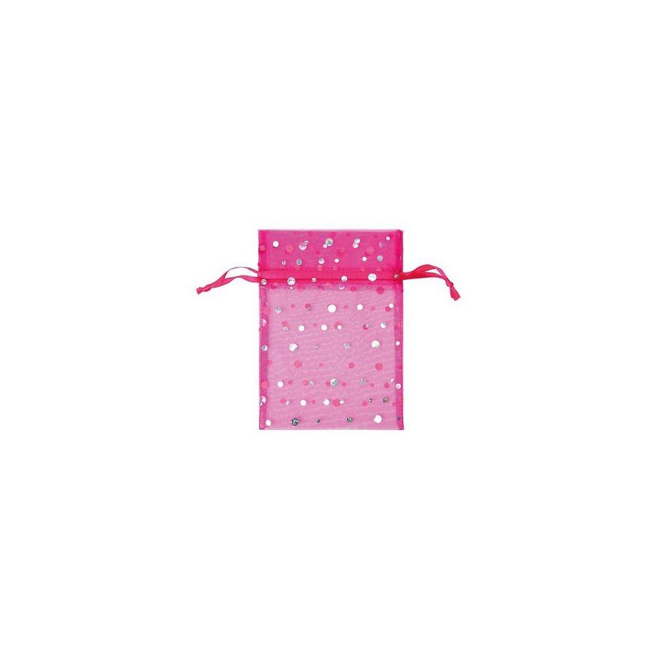 Hotex Chiffonbeutel 13 x 18 cm Glitzerpunkte pink, 12 Stück