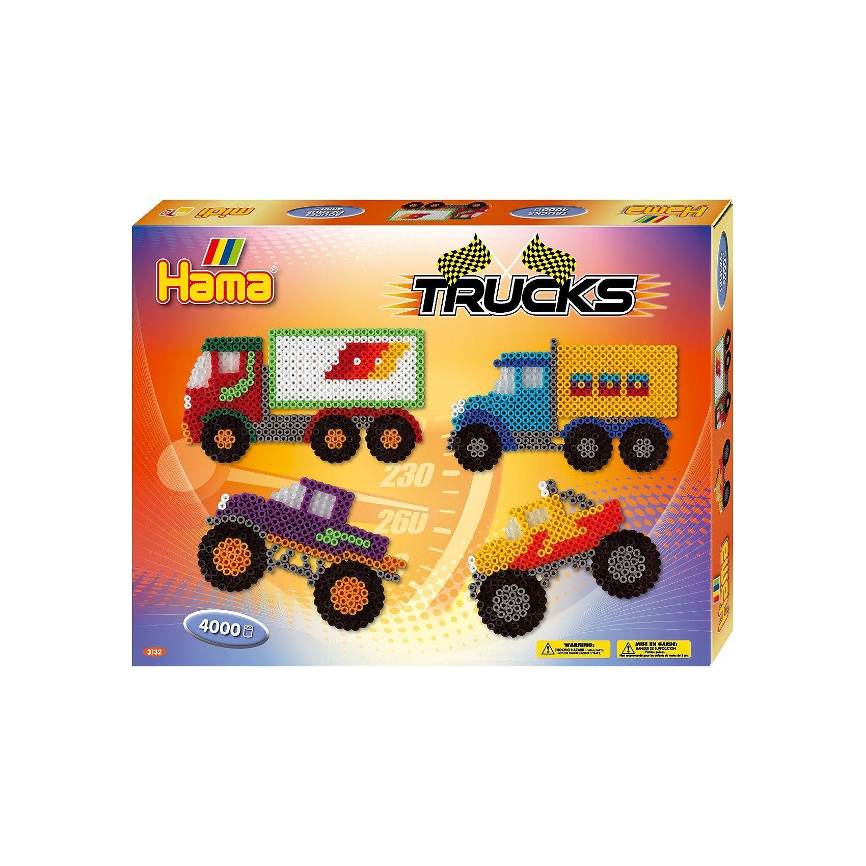 Hama Perlen HAMA 3132 Geschenkset Trucks, 4.000 midi-Perlen & Zubehör
