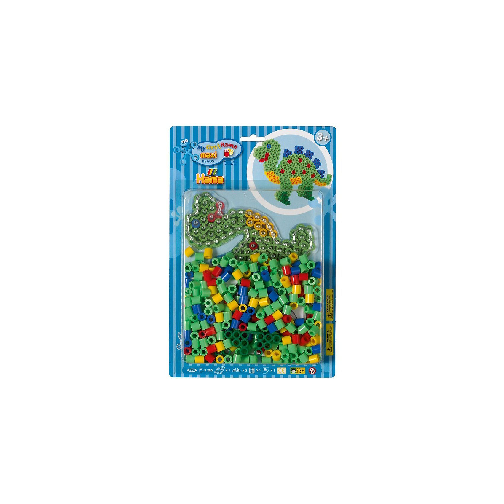 Hama Perlen HAMA 8909 Blister Dinosaurier, 250 maxi-Perlen & Zubehör