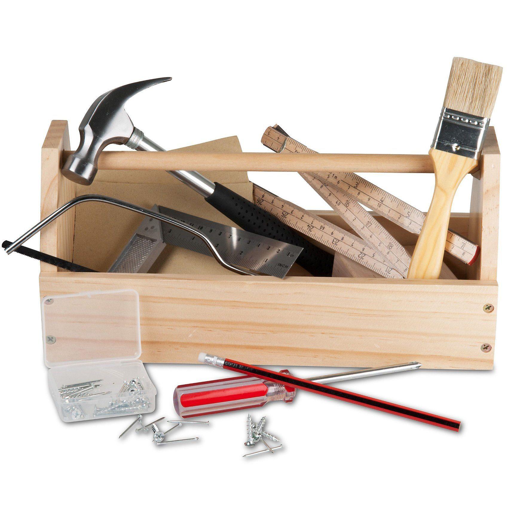Glow2B Holz-Werkzeugkasten mit Werkzeug