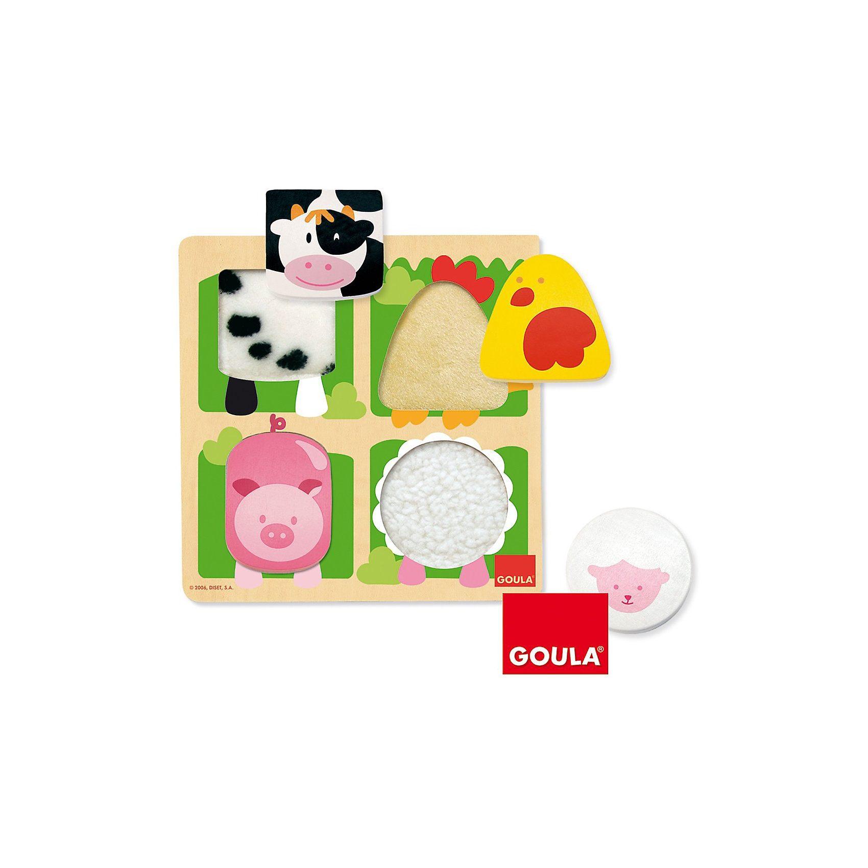 Goula Holzpuzzle Bauernhoftiere mit Plüsch, 4 Teile