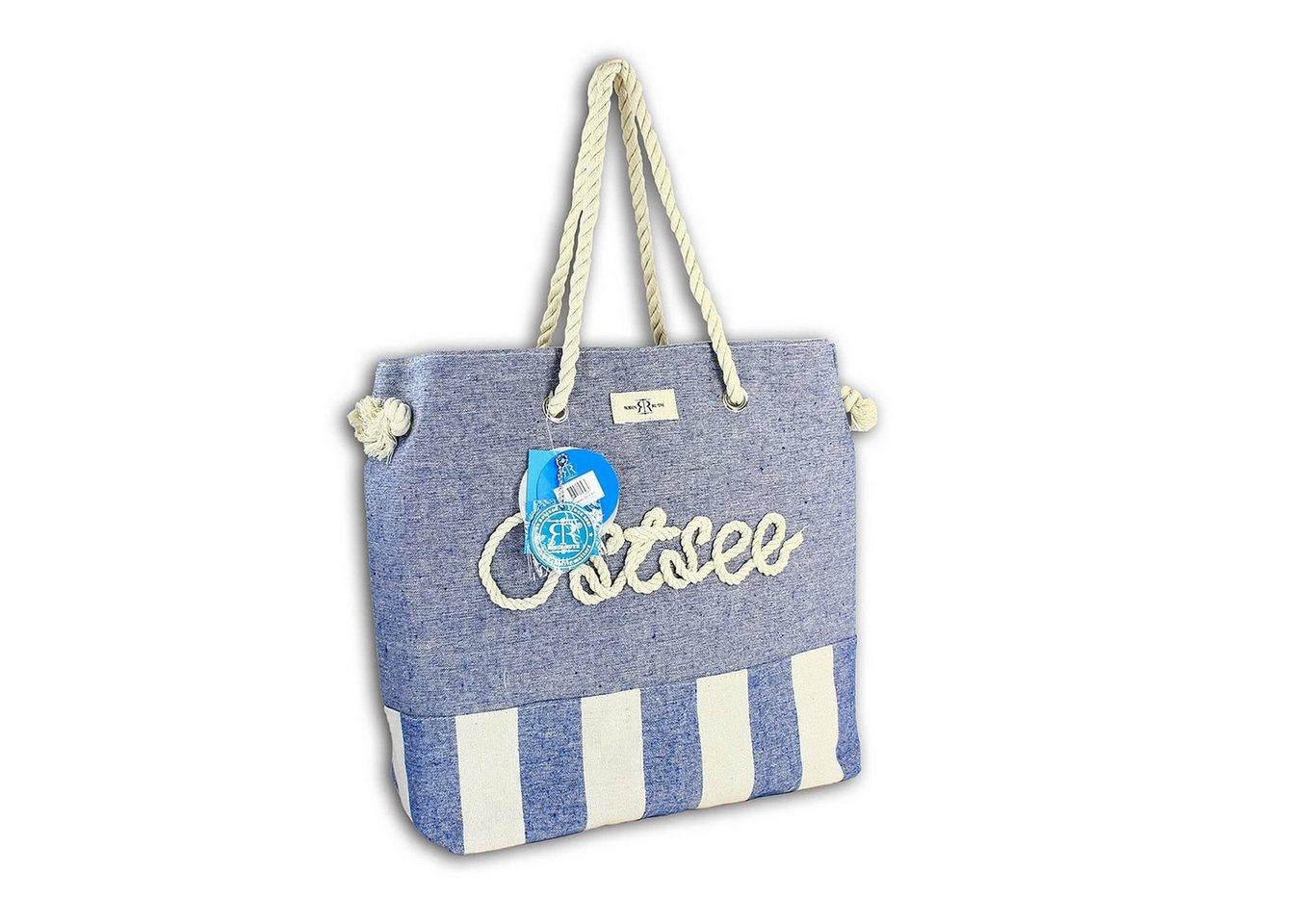robin ruth -  Schultertasche »OTG2102B  Strandtasche Ostsee blau beige« (Strandtasche), Strandtasche, Schultertasche Baumwolle, Polyester, blau ca. 39cm x ca. 53,5cm