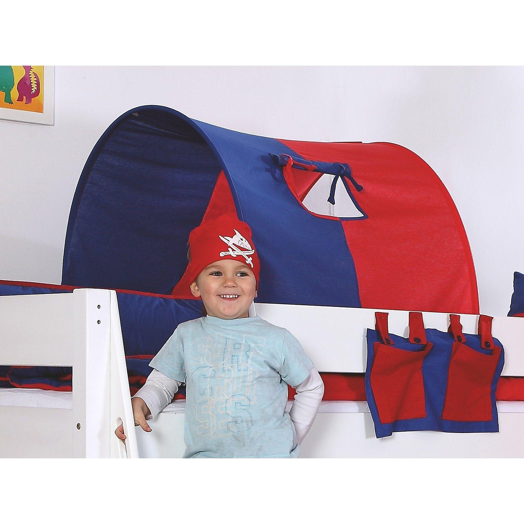 Relita Tunnel zu Hoch- & Etagenbetten, 75 cm, blau/rot | Kinderzimmer > Kinderbetten > Etagenbetten | Rot - Blau | Baumwolle | Relita