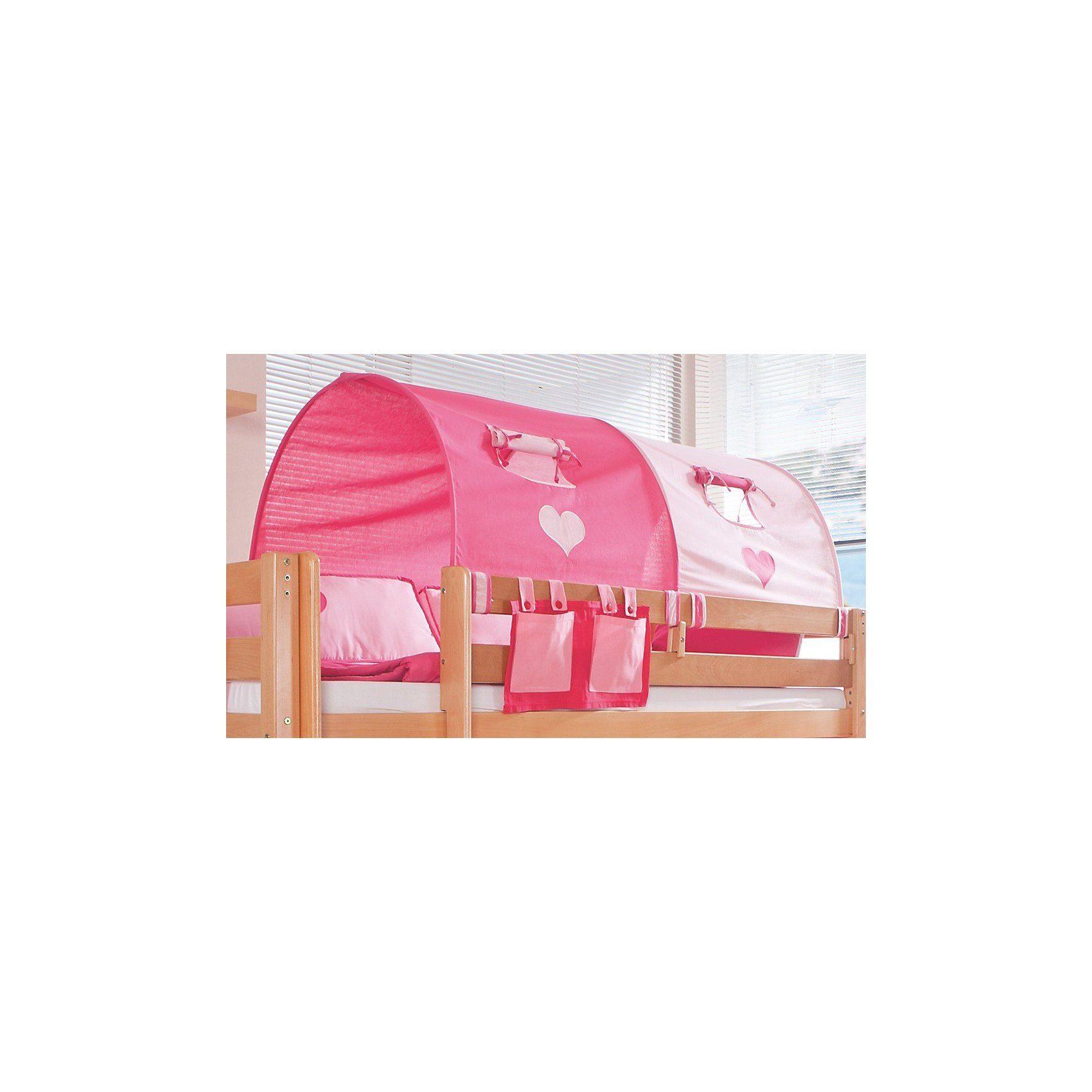 Relita 2er Tunnel für Hoch-und Etagenbetten, 150 cm, pink/rosa Herz