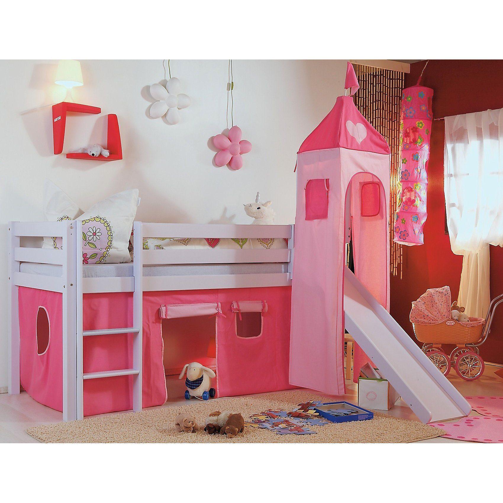 Relita Vorhangset für Spielbett KIM, ALEX mit Turm, pink/rosa Herz