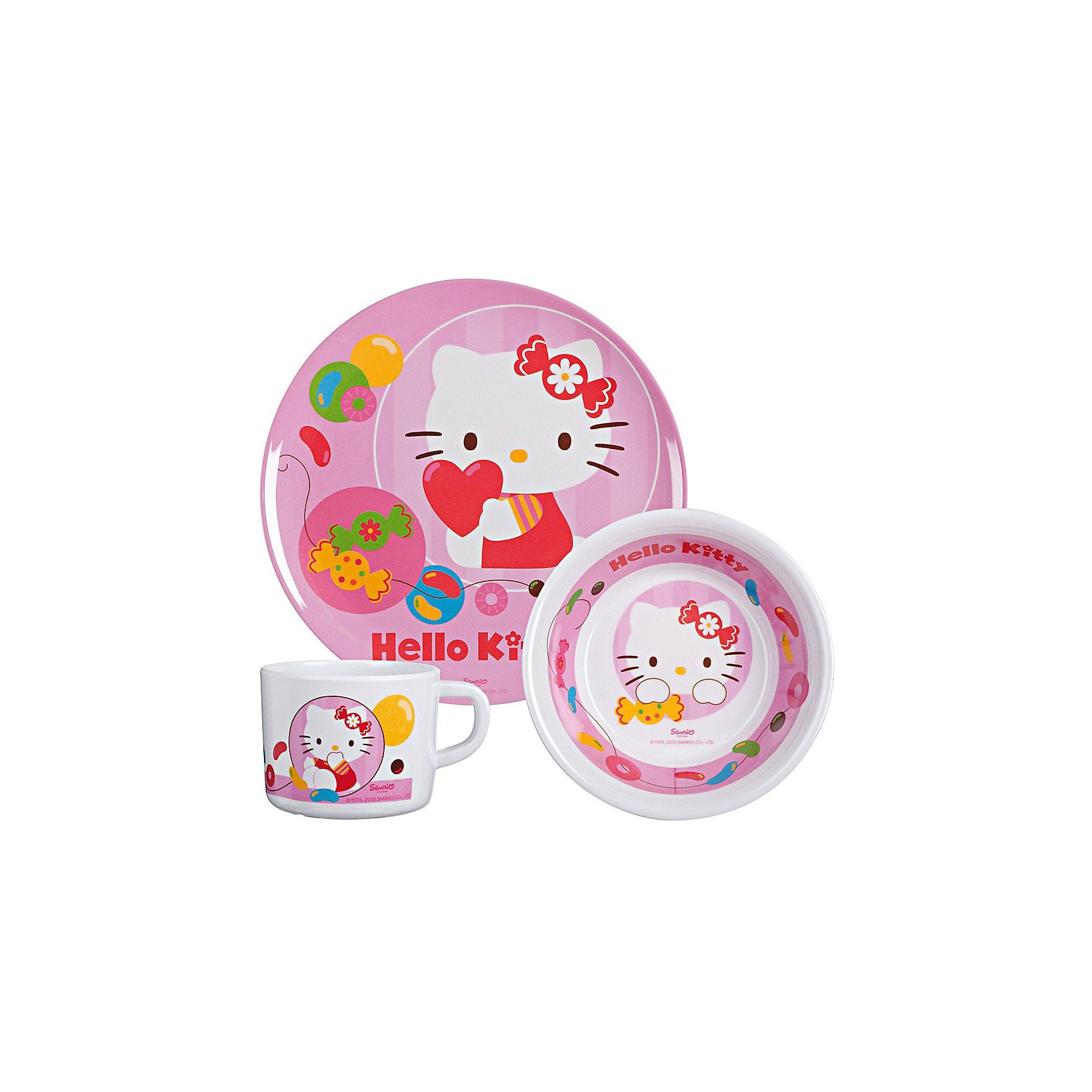 p:os Kindergeschirr Melamin Hello Kitty Jelly Beans, 3-tlg.