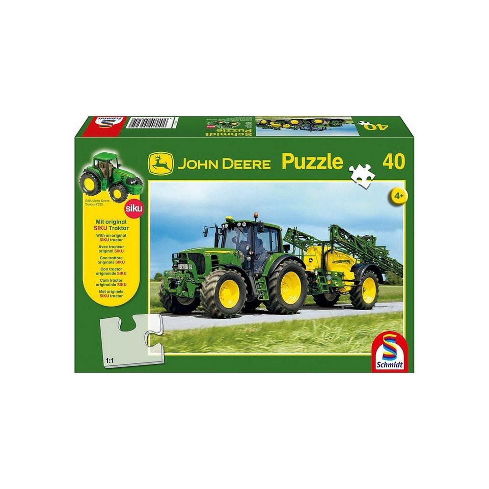 Schmidt Spiele John Deere, Traktor 6630 mit Feldspritze, 40 Teile, mit orig