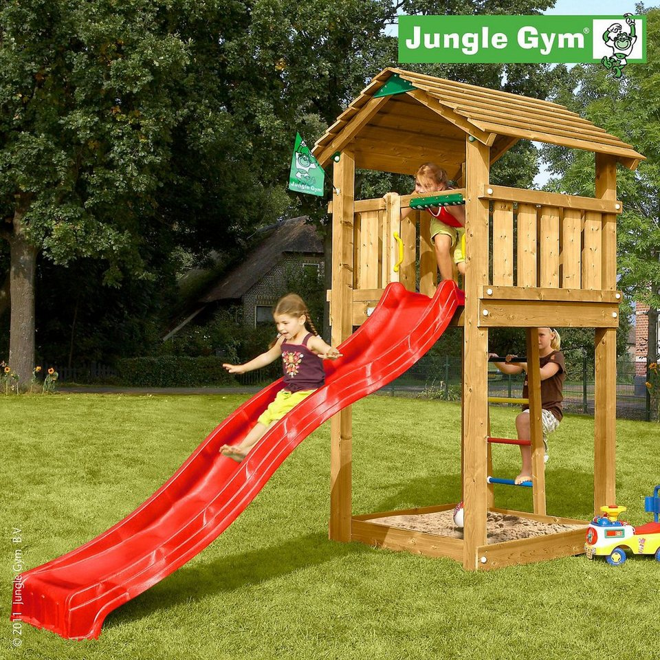 jungle gym spielturm cottage rutsche rot kaufen otto. Black Bedroom Furniture Sets. Home Design Ideas