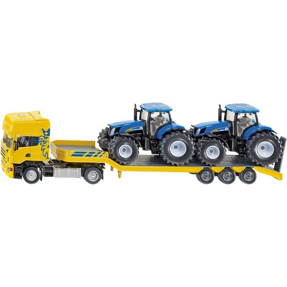 SIKU 1984 LKW mit New-Holland Traktoren 1:50